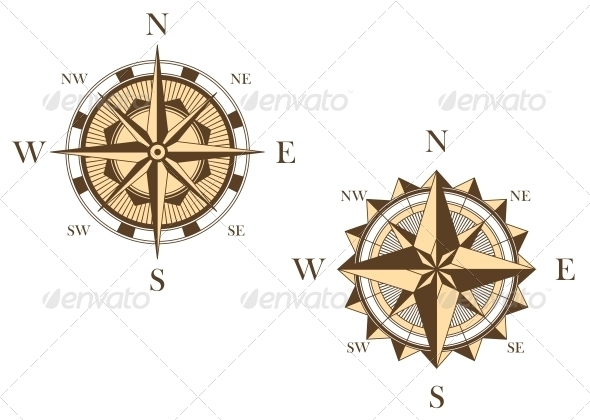 GraphicRiver Two Vintage Compasses 4986118