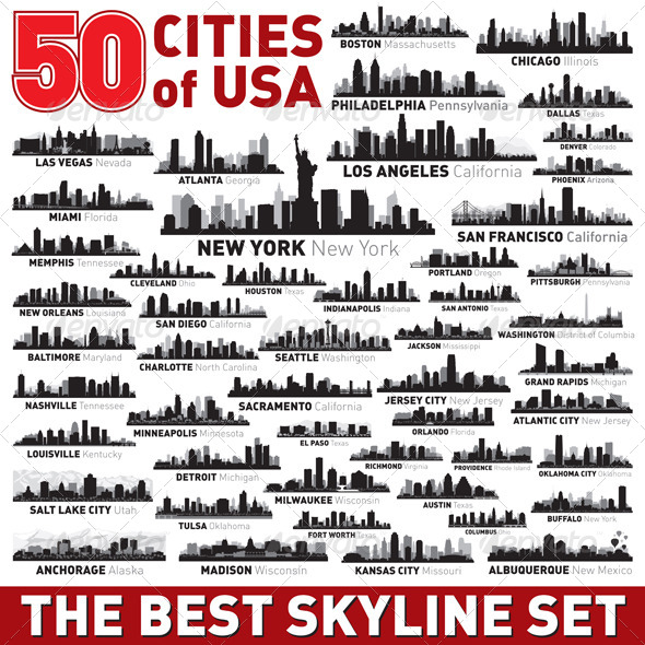 The Best Vector City Skyline Set 50 USA cities - Buildings Objects