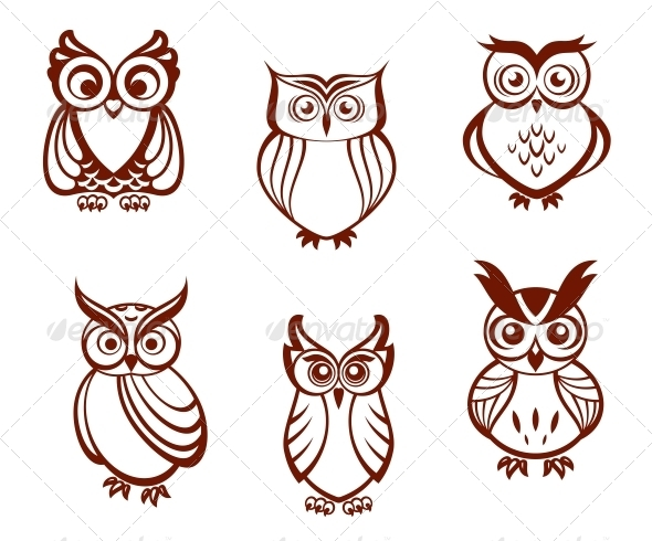 GraphicRiver Set of Cartoon Owls 4986163