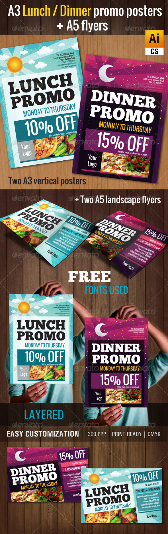GraphicRiver A3 Lunch Dinner Promo Poster 4875792