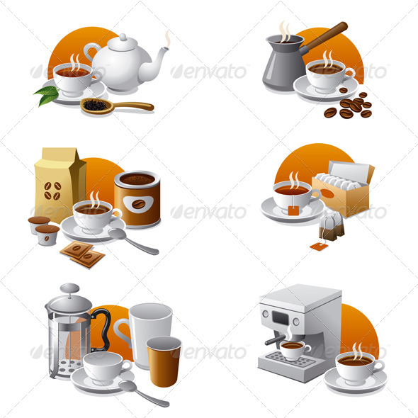 GraphicRiver Coffee and Tea Icon Set 4987716