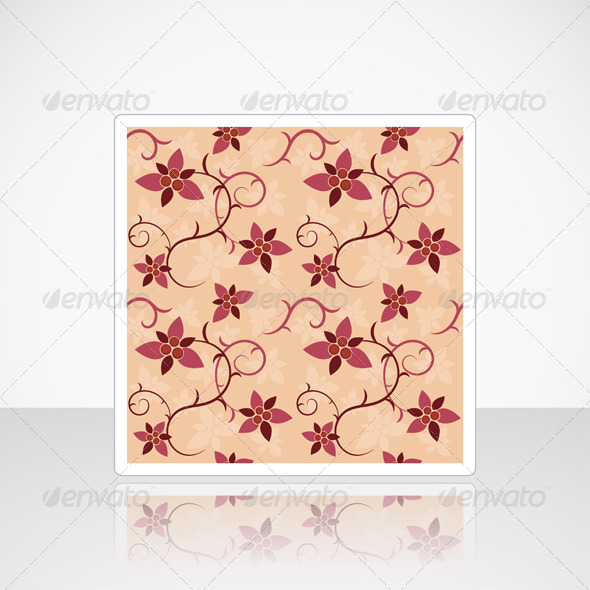GraphicRiver Card with Floral Seamless Pattern 4987823