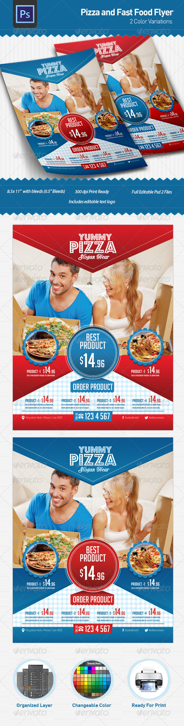 GraphicRiver Pizza and Fast Food Flyer 4989286