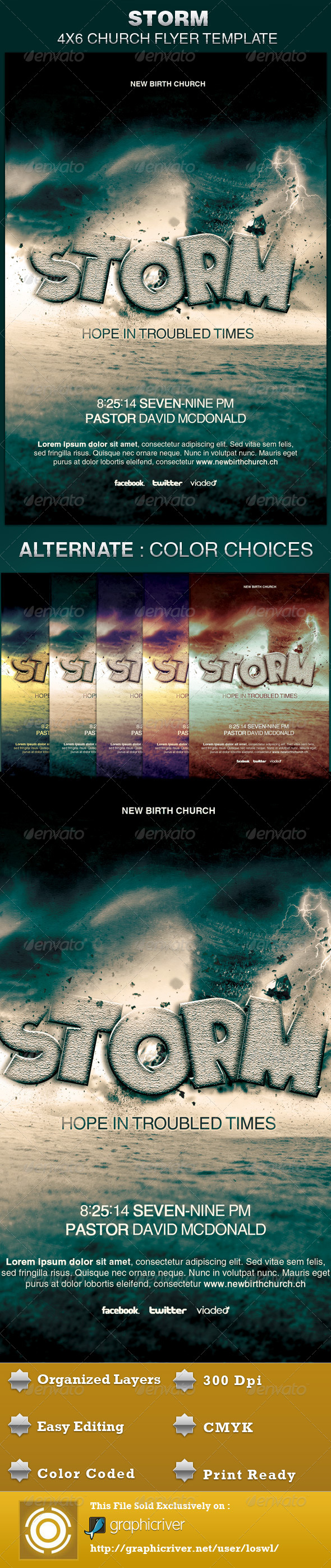 Storm Church Flyer Template - Church Flyers