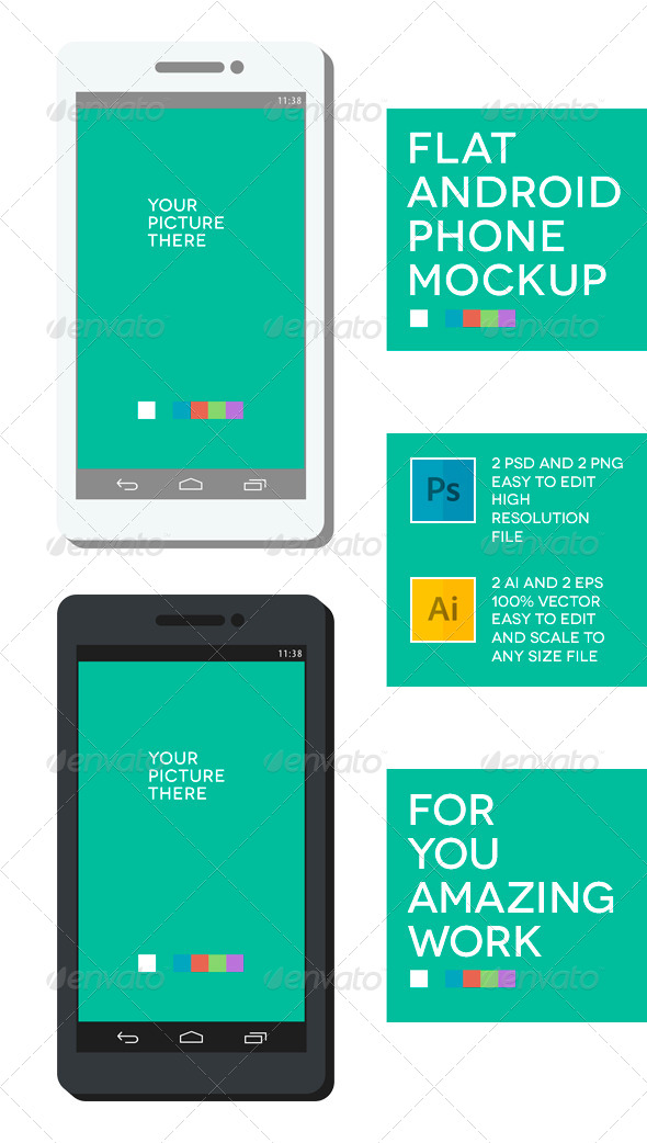 Phone Flat Mockup - Mobile Displays