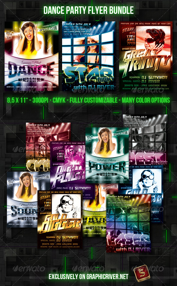 Dance Party Flyer Bundle - Flyers Print Templates