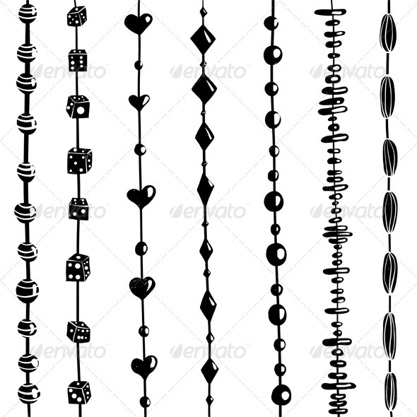 GraphicRiver String of Beads Set Black and White Illustration 4996702