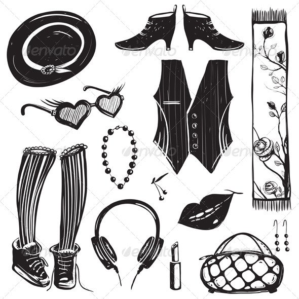 GraphicRiver Hipster Woman Clothing and Accessories Collection 4996738