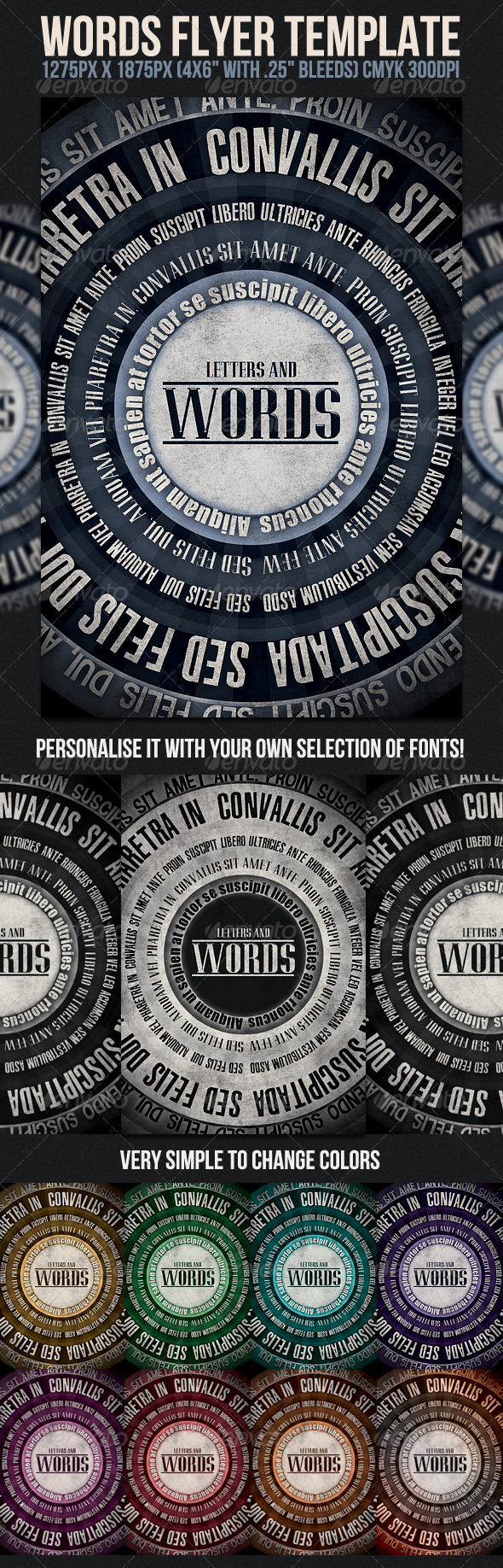 Words Flyer Template - Clubs &amp; Parties Events