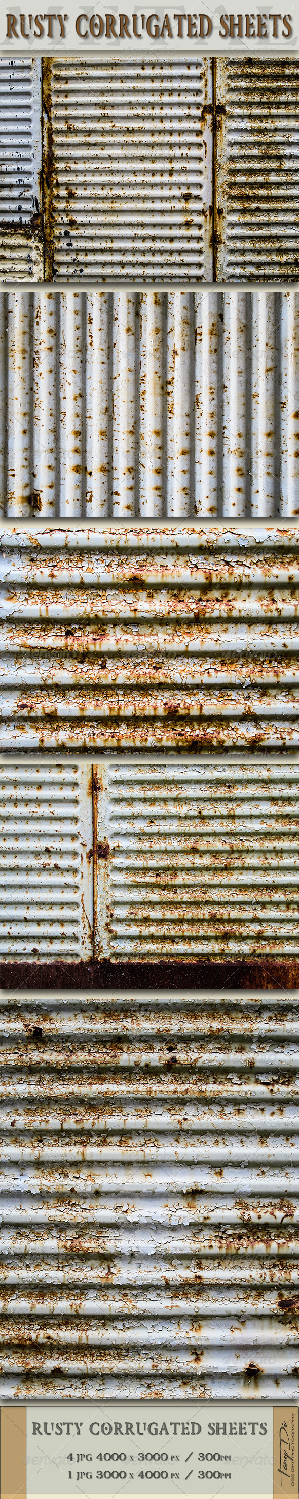 Rusty Corrugated Sheets - Metal Textures