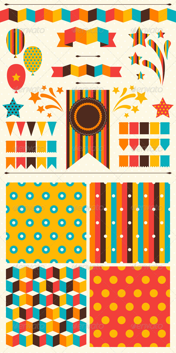 GraphicRiver Collection of Decorations and Patterns for Holiday 4996770