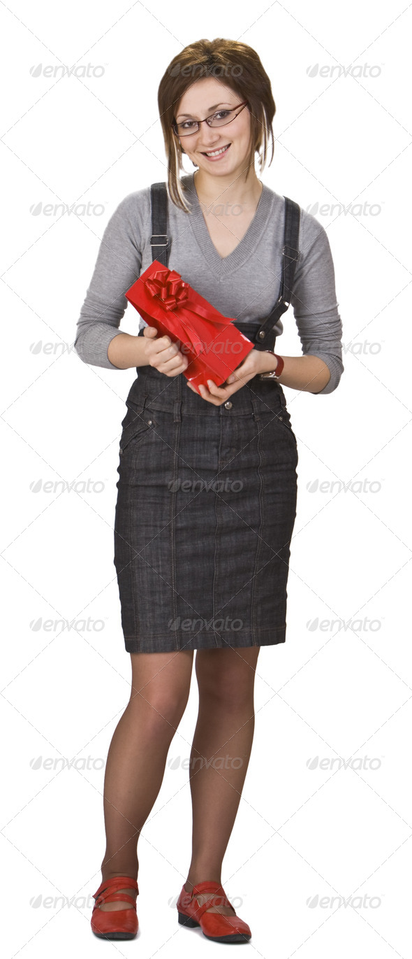 Woman with a Red Gift Box  - Stock Photo - Images