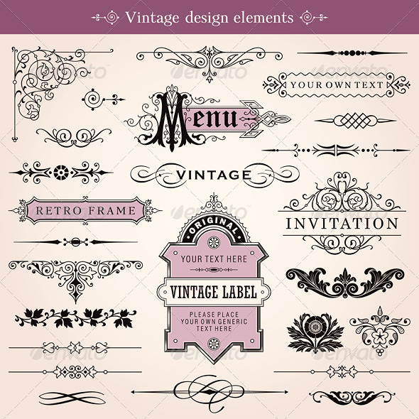GraphicRiver Vintage Calligraphic Design Elements Vector 4997470