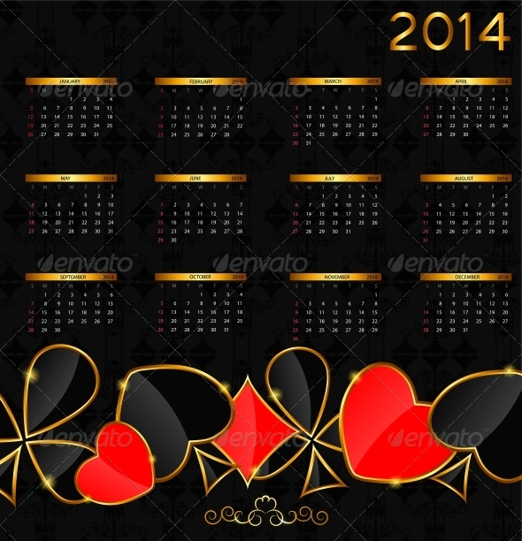GraphicRiver 2014 New Year Calendar in Poker Theme 4997984