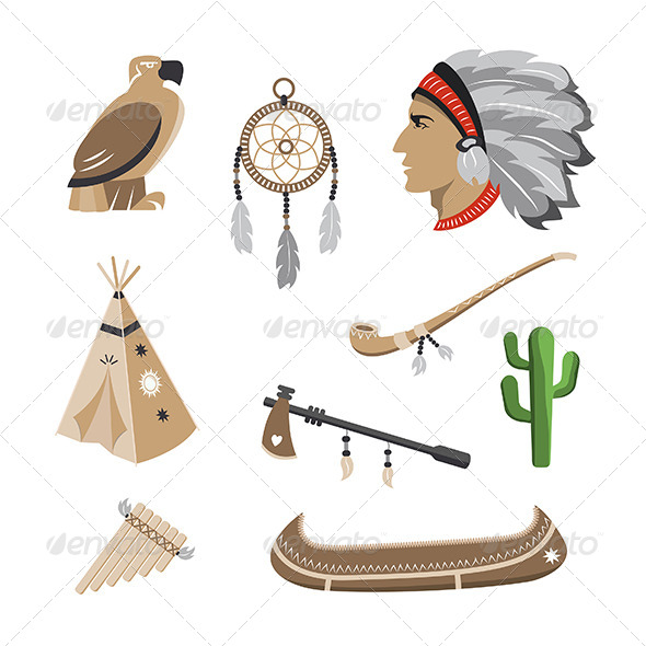 GraphicRiver Native American Indian Icons 4998412