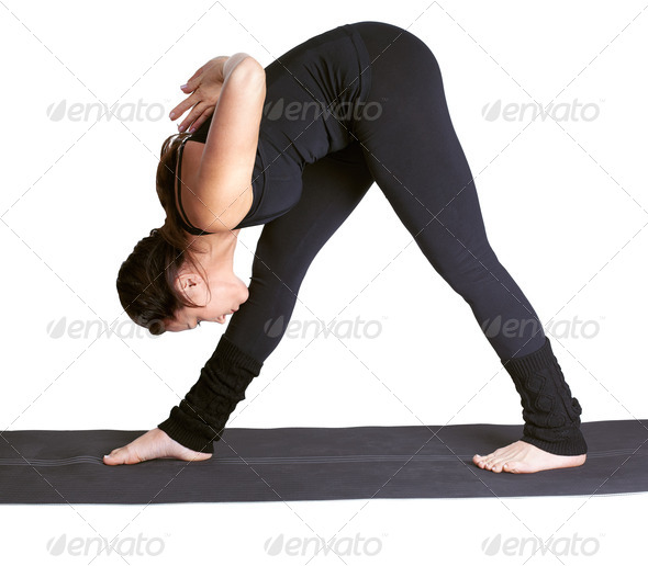 yoga excercising parshvottanasana - Stock Photo - Images