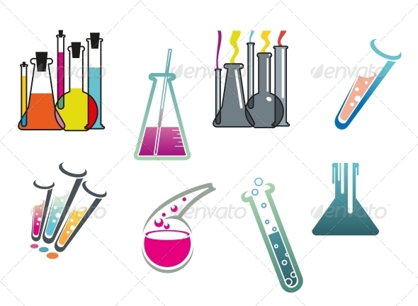 GraphicRiver Laboratory and Test Tubes Set 5002588