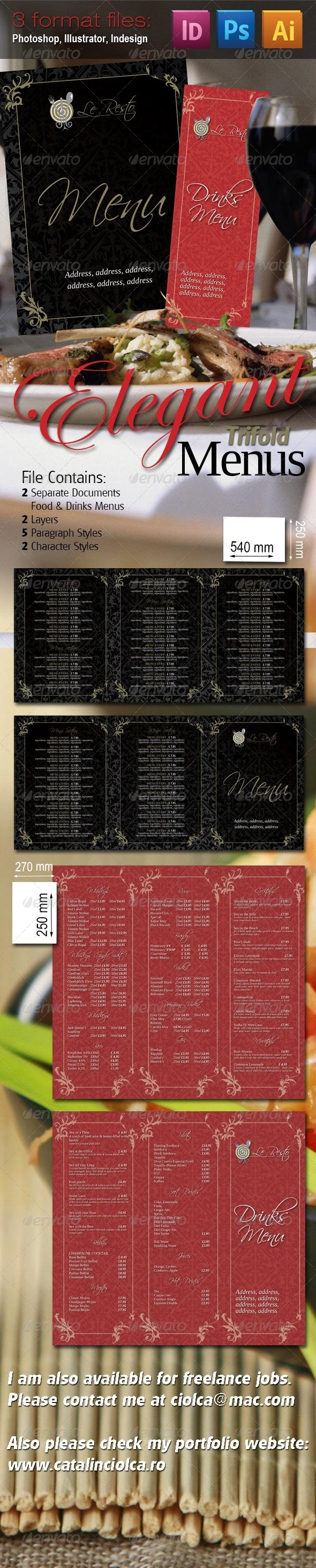 Elegant Trifold Menu Pack - Food Menus Print Templates