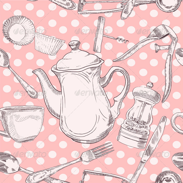 GraphicRiver Seamless Pattern of Kitchen Utensils 5003848