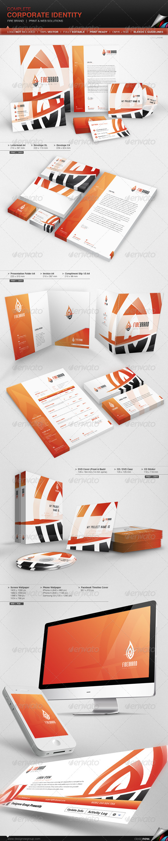 Corporate Identity - Fire Brand - Stationery Print Templates