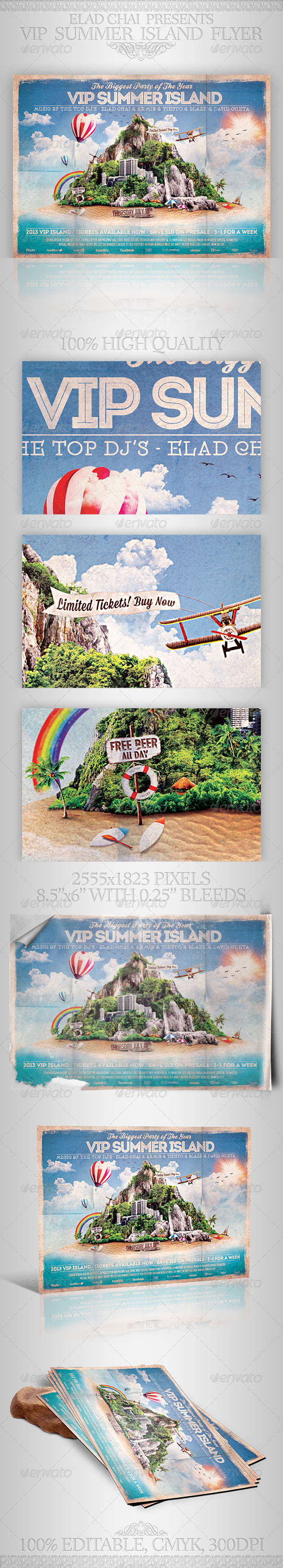 GraphicRiver VIP Summer Island Beach Flyer Template 5004426