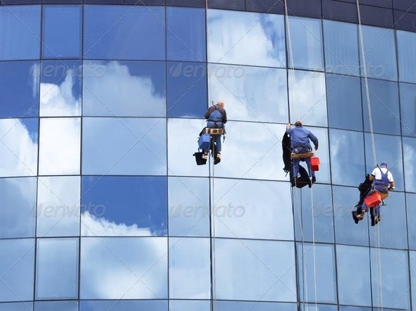 Stock Photo - PhotoDune Workers washing a skyscraper windows 516487