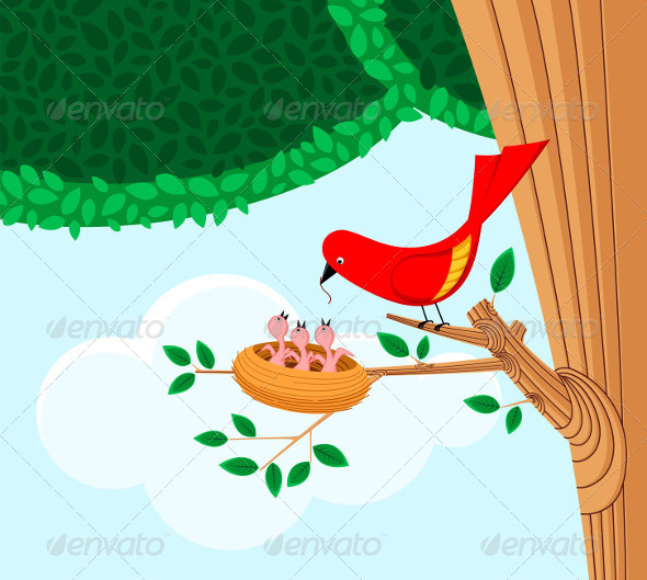 GraphicRiver Bird Feeding Her Child 5006059