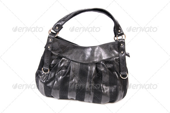 Modern,black handbag on a white. - Stock Photo - Images