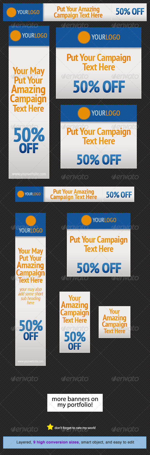 GraphicRiver Orange Blue Web Banner Design Template 5009029