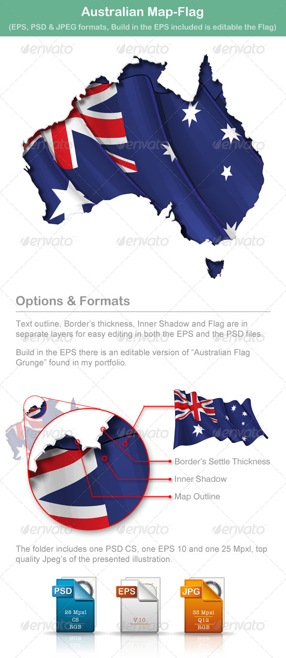 GraphicRiver Australian Map-Flag 5009897