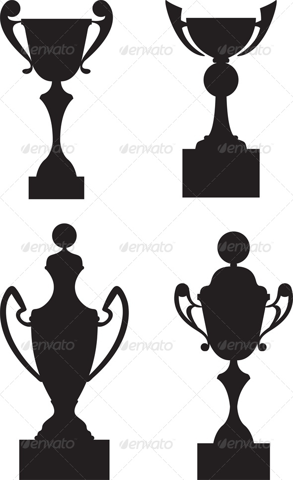 GraphicRiver Trophy Cup Awards Black Silhouette Set 5010514