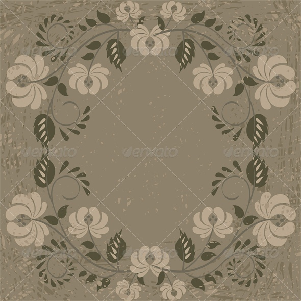 GraphicRiver Vintage Card with Floral Pattern Frame 5010609
