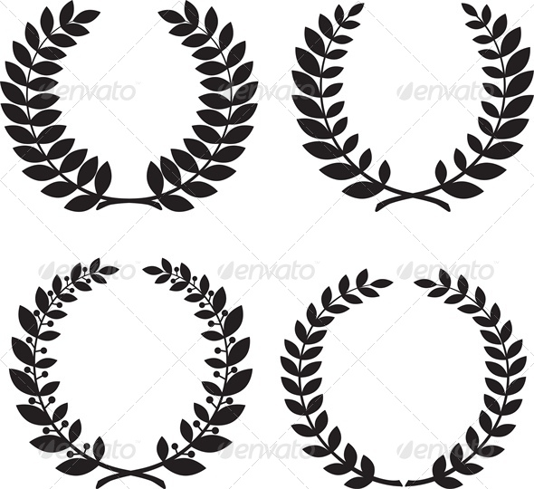GraphicRiver Set of Laurel Wreath Black Silhouettes 5010622