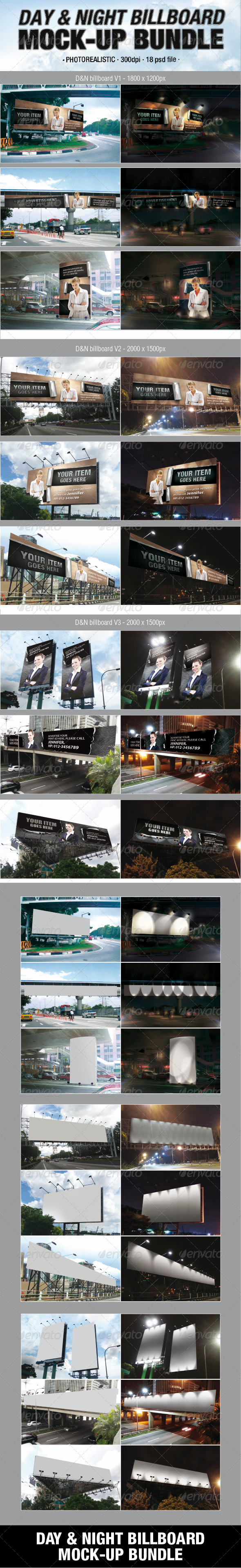GraphicRiver Day & Night Billboard Mock-Up Bundle 4948608