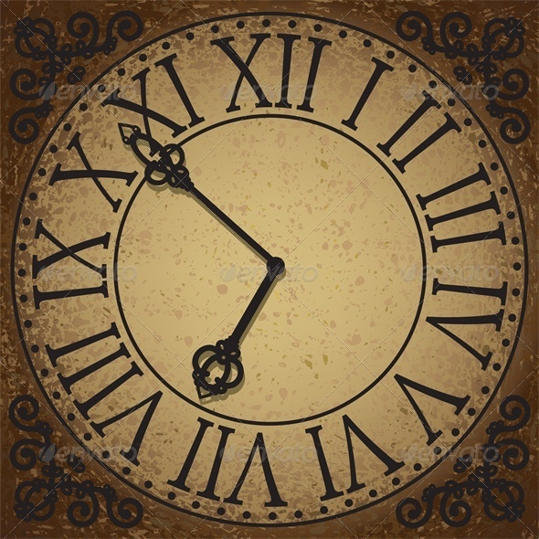 GraphicRiver Vintage Background with Antique Clock Face 5010741