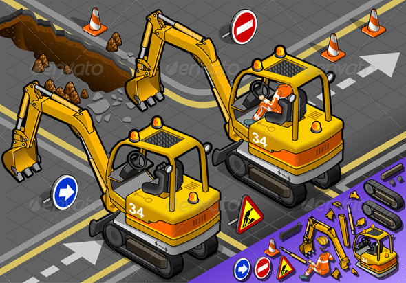 GraphicRiver Isometric Mini Excavator with Man at Work 5010962