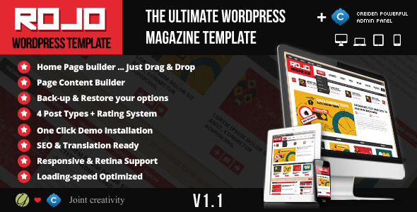 Rojo Responsive WordPress Magazine, Blog Theme