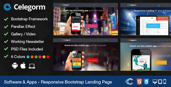 Celegorm Software/App Bootstrap Landing Page - Technology Landing Pages