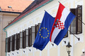 EU and Croatian flags together on Government building - PhotoDune Item for Sale