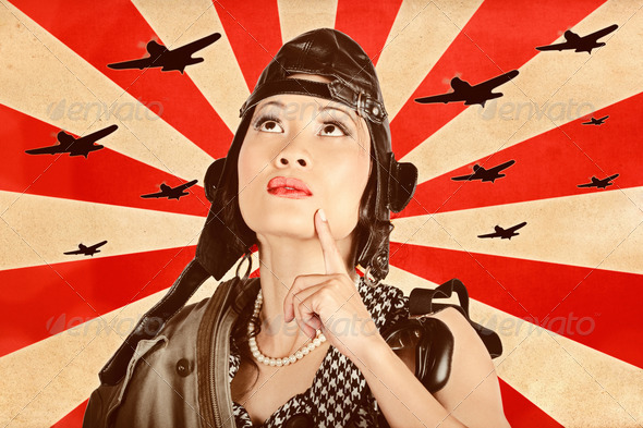 Retro asian pinup girl. War planes of revolution - Stock Photo - Images