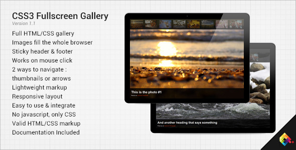 CSS3 Fullscreen Gallery - CodeCanyon Item for Sale