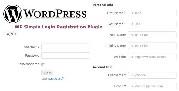 WP Simple Login Registration Plugin
