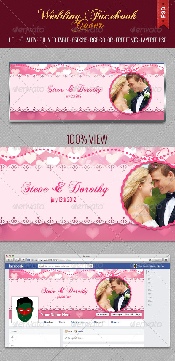 GraphicRiver Wedding Facebook Cover Photo 5015065