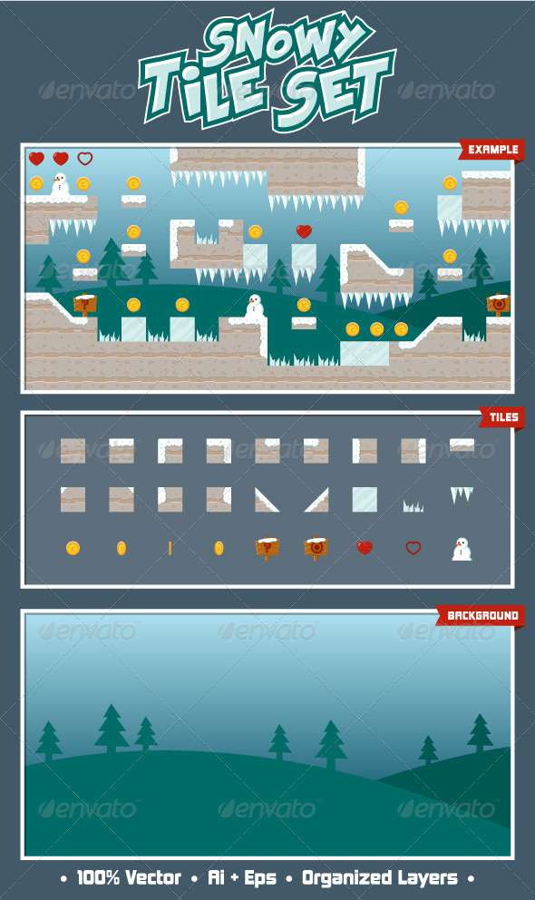 GraphicRiver Snowy Game Tile Set 4999933
