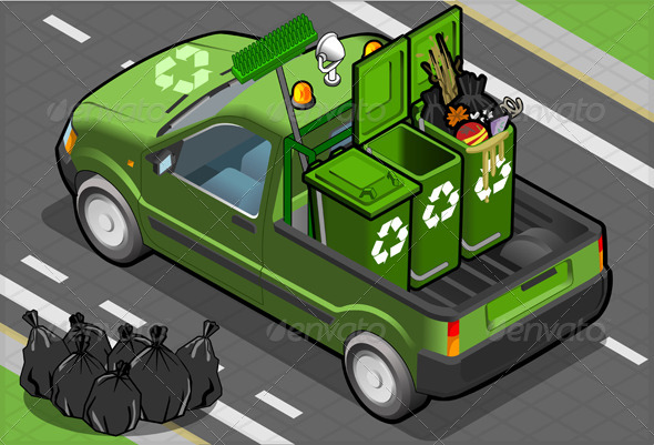 GraphicRiver Isometric Garbage Pick Up in Rear View 5015390