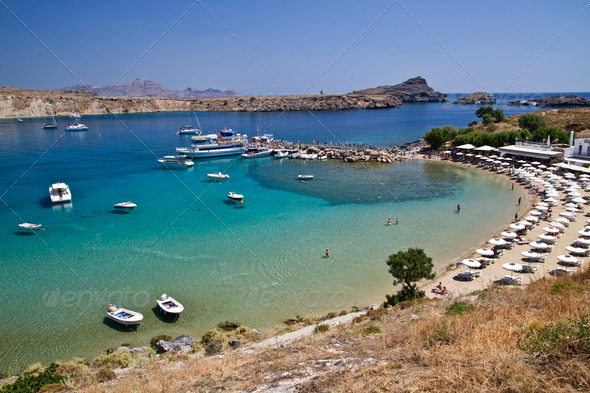Beautiful view of Lindos harbour - Stock Photo - Images