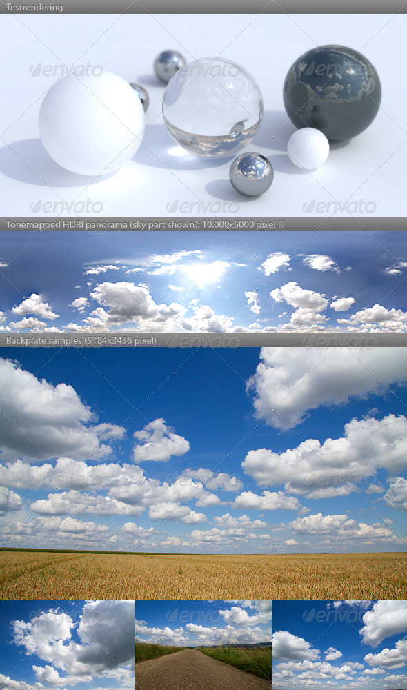 HDRI spherical sky panorama -1442- cloudy sky - 3DOcean Item for Sale