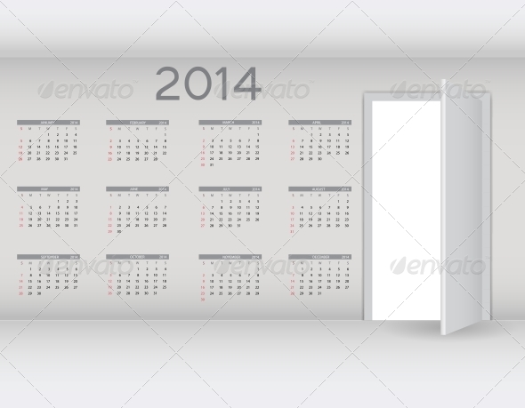 GraphicRiver 2014 New Year Calendar Vector Illustration 5023104