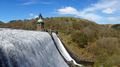 Penygarreg reservoir overflowing water panorama, Elan Valley, Wales. - PhotoDune Item for Sale
