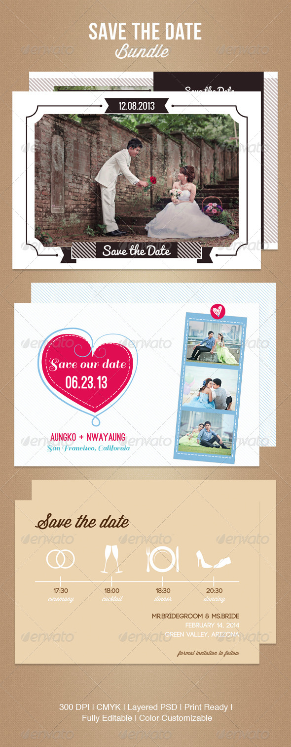 GraphicRiver Save The Date Bundle 5024422